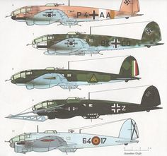 vintage Aircraft illustration Heinkel He by VintageAndNostalgia