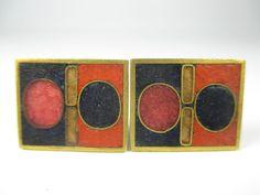 Stegemaille Manschettenknöpfe Vintage 50er Schibensky ? enamel cufflinks 1F N4