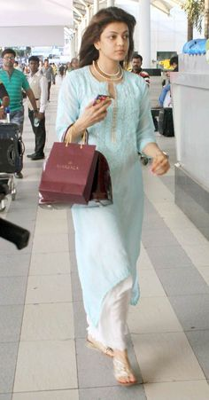 Kajal Aggarwal spotted at the Mumbai airport. #Bollywood #Fashion #Style #Beauty