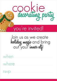 Cookie Decorating Party Invite - Download and Print our Free Holiday Invitations