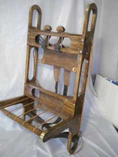 1860's Trapper Pack Frame, oak construction, 120 + lb. cap. choice of leather or canvas suspension, brass screw assembly.