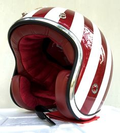 Masei 501 Red Ruby Cafe Racr Open Face Motorcycle Helmet Free Shipping Worldwide