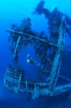 The wonder of underwater shipwrecks now explored by divers alone. Underwater Shipwreck, Underwater World, Abandoned Ships, Abandoned Places, Ship Wreck, Sea Diving, Ghost Ship, Deep Blue Sea, Graveyards