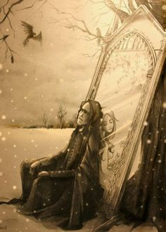 Poignant fan art of Severus Snape and the late Lily Potter in the Harry Potter series