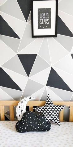 Room Wallpaper Designs, Bedroom Wall Designs, Room Ideas Bedroom, Diy Room Decor, Bedroom Decor, Nursery Decor, Home Decor, Childrens Bedroom Accessories, Wall Paint Patterns