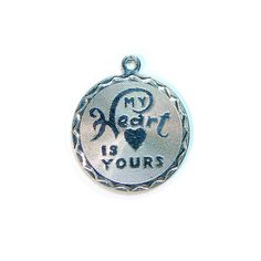 Valentine My Heart is Yours Sterling Vintage Disc by Betsysbijoux