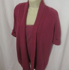 Talbots Open Cardigan Sweater Short Sleeves Small Pink Cami Womens Fuchsia