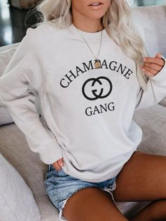 Champagne Gang Influencer Top Selling Graphic Gucci Insipired T Tshirt Tee Unisex Heavy Blend Crewneck Sweatshirt Crew Neck Oversized Hoodie Sweatshirts, Grey Sweatshirt, Crew Neck Sweatshirt, Hoodies, Brunch Outfit, Sweat Shirt, Sport, Pulls, Street Wear