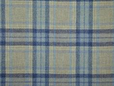 Highland Wool Tartan Check Natural Blue Navy Curtain & Light Upholstery Fabric - The Millshop Online