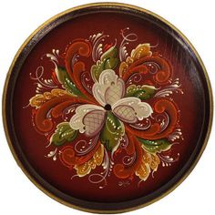 Plaque Round, Designed, Rosemaled, Handpainted & Signed By the Artist Joan Dahl in Art, Direct from the Artist, Folk Art & Primitives | eBay