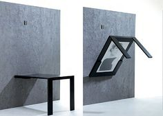 Space Saving Furniture: Folding Table via Apartment Therapy. Made by Ivy Design Folding Furniture, Space Saving Furniture, Furniture For Small Spaces, Modern Furniture, Furniture Design, Furniture Ideas, Small Rooms, Small Apartments, Furniture Stores