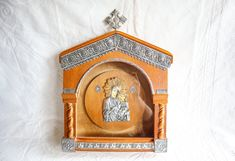 Greek Stefanothiki Display | Vintage Coronet Case | Wood Wall Hanging Box | Wedding Stefana Crown Holder