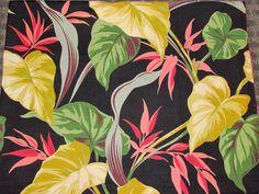 Tropical bark cloth, black background