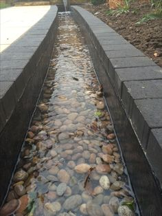 water rill with cobble insert, charcoal edging This would be really cool around the dock edge and pool