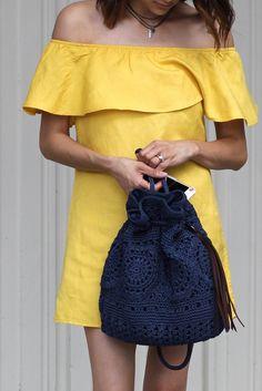 SUNSET YELLOW // offshoulder dress Sayulita crocheted backpack