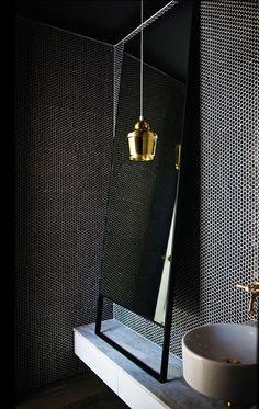brass pendant against black honeycomb tile / desire to inspire - desiretoinspire.net