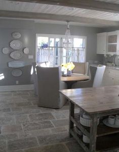 have the floor & the wall colour...beams too..MUST...de-clutter......coming soon....a FRESH kitchen....