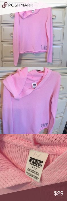 NEW VS PINK Hooded Long Sleeve Top-Size Small NEW VS PINK Hooded Long Sleeve Top-Size Small. Tags were removed on accident but the barb is still attached on the back tag as shown in the photo. 51% Cotton 49% Polyester, SUPER cute and soft! Very Trendy and Sought After Top! This is a roomy Small in my opinion. Fast Shipping! Smoke Free Home! 🍬Posh Ambassador!🍬 PINK Tops Tees - Long Sleeve