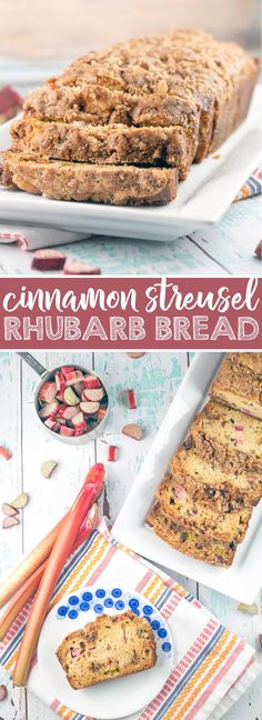Cinnamon Streusel Rhubarb Quick Bread: a moist, tenderquick bread jam packed with fresh rhubarb and a double dose of cinnamon streusel layered into the bread and coating the top. {Bunsen Burner Bakery} via @bnsnbrnrbakery