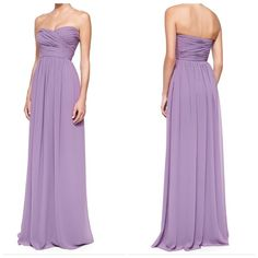 4X'S HP Chiffon Sweetheart Gown • Monique Lhuillier Bridesmaids • Color: Violet • Hidden side zip closure • 100% Polyester chiffon • Just had this dry cleaned on 7/21/15 • Inside tag came off  Measurements: 53 inch Top⬇Bottom,Measurements 16 inch on the very top, Left ➡ Right,Measurements:12  inches right below the chest Left ➡ Right • Size 4: 34″inch Bust, 27.5' inch,Waist, 37.5″ inch Hip ❌No Trades❌ Host Pick Vacation Essentials Party Host Pick Girly Girl Party HP Best Dressed Party HP…