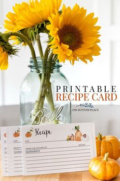 Fall Recipe Card Pri