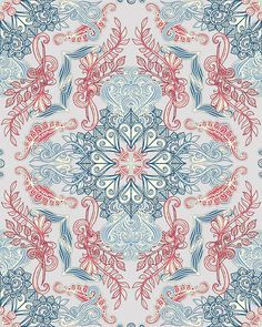 """Vintage Fancy - a Pattern in Pale Blue, Navy & Deep Rose"" by micklyn 