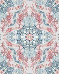 """Vintage Fancy - a Pattern in Pale Blue, Navy & Deep Rose"" by micklyn | Redbubble"