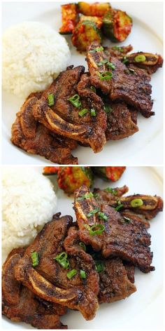 Low Unwanted Fat Cooking For Weightloss Kalbi Korean Short Ribs - Very Popular Dish Of Grilled Beef Ribs In A Delicious Marinade Found At Korean Bbq Restaurants. Make It At Home Today Lamb Recipes, Salmon Recipes, Asian Recipes, Cooking Recipes, Asian Desserts, Korean Bbq Beef, Korean Short Ribs, Korean Food, Korean Bbq Marinade