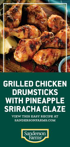 Grilled Chicken Drumsticks with Pineapple Sriracha Glaze bring the sweet and spicy flavor of Hawaii to your table. Make this quick and easy grilled chicken drumsticks recipe for dinner, lunch or when hosting a party! Grilled Chicken Drumsticks, Grilled Chicken Recipes, Baked Chicken Recipes, Grilling Recipes, Meat Recipes, Dinner Recipes, Cooking Recipes, Drumstick Recipes, Food Dishes