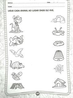 Free Preschool, Preschool Worksheets, Preschool Learning, Cognitive Activities, Science Activities, Activities For Kids, Animals And Their Homes, Ready For First Grade, Animal Worksheets