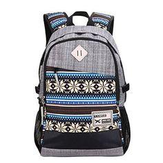 Tribal-print Daypack: Best Backpacks for College (Grey) $20.00 //