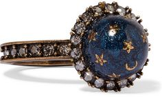 Valentino - Gold-plated, Swarovski Crystal And Enamel Ring - Blue