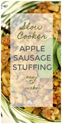 Crockpot Stuffing Recipe with Apples and Sausage for Thanksgiving. Crockpot Stuffing, Sausage Crockpot, Apple Sausage, Sausage Stuffing, Chicken Stuffing, Slow Cooker Apples, Slow Cooker Recipes, Crockpot Recipes, Cooking Recipes