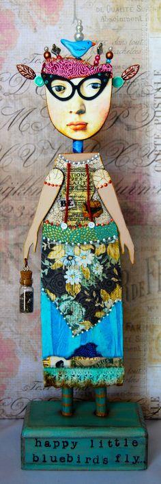 Altered Art Doll  Happy Little Bluebird by desertdreamstudios