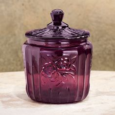LOVE the vintage look with this beautiful Amethyst Glass Biscuit Jar from Miles Kimball $19.99