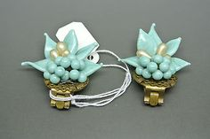 Vintage French Louis Rousselet turquoise Poured Glass Beaded Earrings