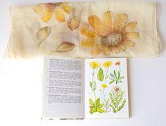 Vintage Scarf & Book Alpine Flowers by PomegranateVintage on Etsy, $24.99