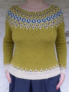 Ravelry: Project Gallery for Telja pattern by Jennifer Steingass Fair Isle Knitting, Sweater Design, Free Pattern, Knitting Patterns, Knit Crochet, My Design, Lady, Knits, Owl Hat