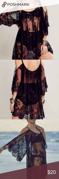 hot new BOHO off shoulder top New off shoulder embroidery floral lace crochet top or beach dress Tops