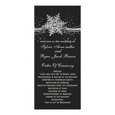 black Silver Snowflakes wedding programs length Rack Cards