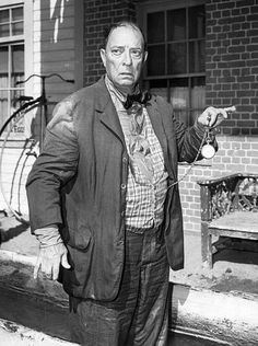 """Photo of Buster Keaton from the television program The Twilight Zone. In this episode, """"Once Upon a Time"""", Keaton played a man who was able to travel back and forth in time with a magical helmet. Keaton performed some of his scenes for the episode as a silent performer, as in his old film days. 1961"""