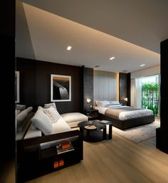 distribución estar y cama. Cabecera lateral diferente  SCDA Residence at Scotts, Singapore