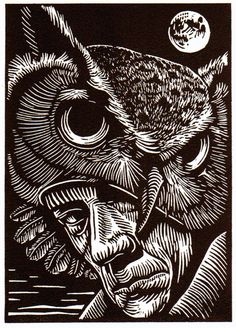 "Book Cover art - of Marc Snyder's eight linocuts for Noel Sloboda's ""Our Rarer Monsters"", a book of poetry to be published in 2012 by Sunnyoutside Press. Woodcut Art, Linocut Prints, Art Prints, Scratchboard Art, Scratch Art, Monochrom, Wood Engraving, Woodblock Print, Art Sketchbook"