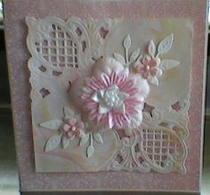Marianne anja corner die used on card coloured using the shaving foam technique