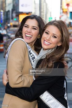 Miss Universe 2014 <a gi-track='captionPersonalityLinkClicked' href=/galleries/search?phrase=Paulina+Vega+-+Beauty+Queen&family=editorial&specificpeople=13866467 ng-click='$event.stopPropagation()'>Paulina Vega</a> (L) and Miss USA 2014 <a gi-track='captionPersonalityLinkClicked' href=/galleries/search?phrase=Nia+Sanchez&family=editorial&specificpeople=8565191 ng-click='$event.stopPropagation()'>Nia Sanchez</a> seen in Times Square on February 5, 2015 in New York City.