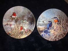 Coalport Frosty Mornings: Robin Redbreast (left) and Kingfishers at Dawn (right) - Artist: David Feather