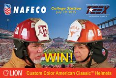 Come to NAFECO's booth at #TEEX on July 19th for chance 2 WIN a UT or A&M #LION Custom Color American Classic™ Helmet.