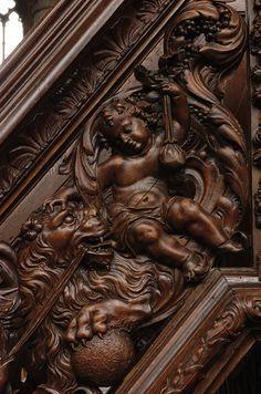 Poperinge, West-Vlaanderen, Sint-Bertinuskerk, pulpit, stairway, southwest, detail   by groenling