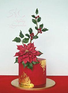 chrismas cake by Sugar flowers Creations Chrismas Cake, Christmas Themed Cake, Christmas Cake Designs, Christmas Cake Decorations, Christmas Cupcakes, Holiday Cakes, Christmas Desserts, Christmas Treats, Christmas Baking