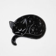 Mystical Black Cat Vinyl Sticker - s t i c k e r - Gatos Black Cat Tattoos, Animal Tattoos, Tattoo Gato, Animal Drawings, Art Drawings, Drawing Art, Black Cat Drawing, Moon Drawing, Cute Cat Drawing